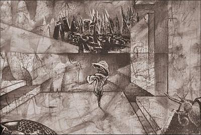 Drawing - Pitcherlithocollage 1985  by Glenn Bautista