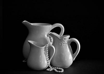 Pitchers By The Window In Black And White Print by Sherry Hallemeier