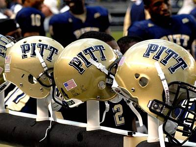Sports Framed Photograph - Pitt Helmets Awaiting Action by Will Babin