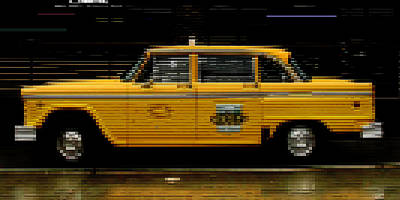 Checker Cab Photograph - Pixel Taxi by Andrew Fare