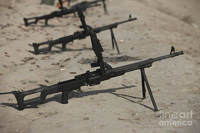 Pk General-purpose Machine Guns Stand Art Print by Terry Moore