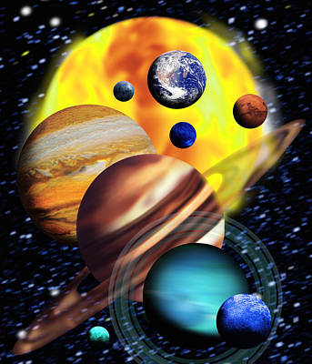 Planets & Their Relative Sizes Art Print by Victor Habbick Visions