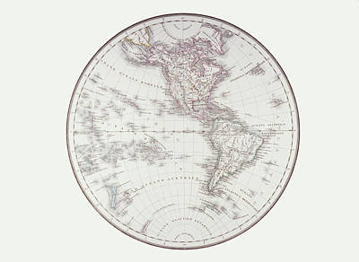 Planispheric Map Of The Western Hemisphere Art Print by Fototeca Storica Nazionale