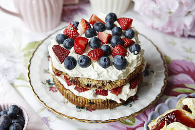 Y120831 Photograph - Plate Of Fruit And Cream Cake by Debby Lewis-Harrison
