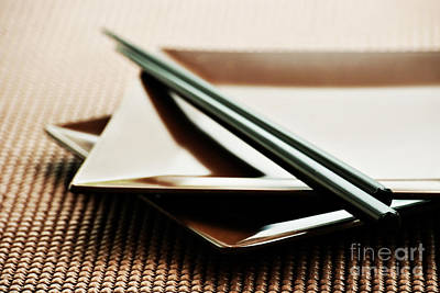 Bamboo Photograph - Plates And Chopsticks by HD Connelly