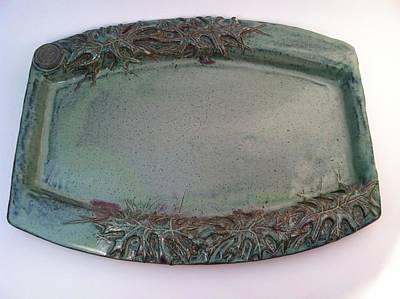 Platter With Pin Oak Leaves Art Print by Carolyn Coffey Wallace