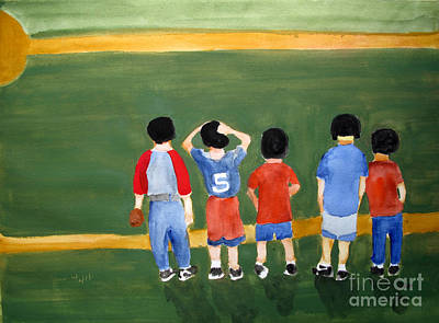 Softball Painting - Play Ball by Sandy McIntire