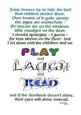 Play Laugh Read Painting - Play Laugh Read by Judy Dodds