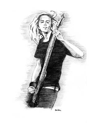 Bass Player Drawing - Play On by Karen Clark