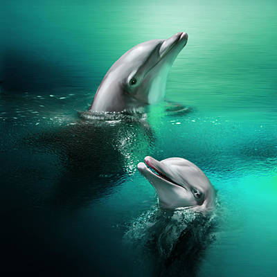 Playful Dolphins Art Print by Julie L Hoddinott