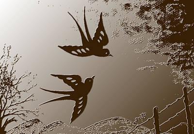 Playful Swalows Digital Art Art Print by Georgeta  Blanaru