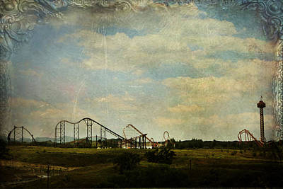 Roller Coaster Digital Art - Playgrounds Of Old by Laurie Search