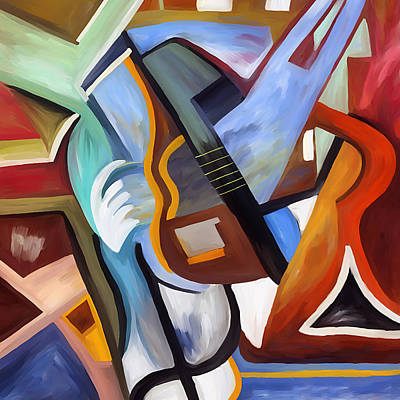 Playing Guitar Art Print by Amarok A