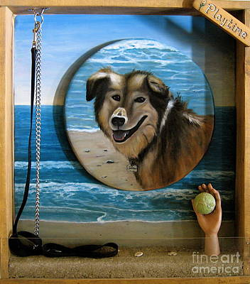 Dog Play Sea Painting - Playtime by Dawn Graham