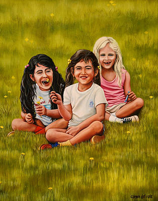 Oil Painting - Playtime In The Field by Carmen Del Valle