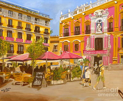 Plaza Malaga Art Print by Judy Morris