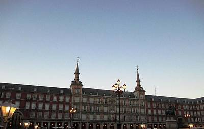 Photograph - Plaza Mayor And Lamp Post At Sundown With Lights In Madrid Spain by John Shiron