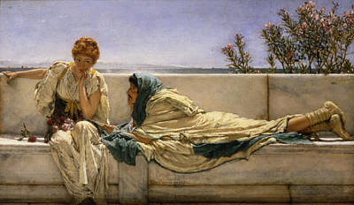 Marble Painting - Pleading by Sir Lawrence Alma-Tadema