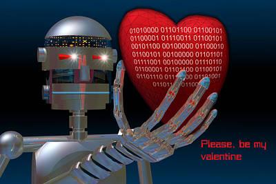 Robotics Digital Art - Please Be My Valentine by Carol and Mike Werner