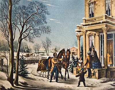 Pleasures Of Winter By Currier And Ives Art Print by Susan Leggett