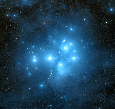 Pleiades Star Cluster Art Print by Davide De Martin