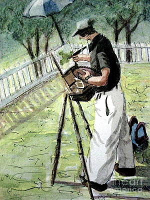 Pastel - Plein-air Artist At Tunnel Hill 1 by Gretchen Allen