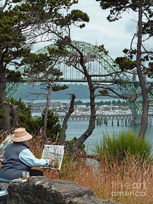 Bay Bridge Digital Art - Plein Air Artist by Methune Hively