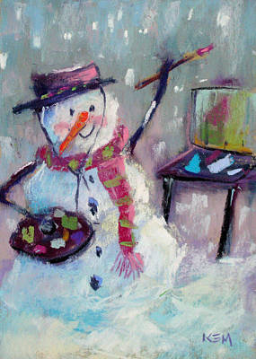Painting - Plein Air Snowman by Karen Margulis