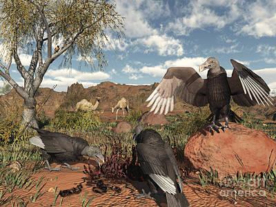 American Food Digital Art - Pleistocene Black Vultures Feed by Walter Myers