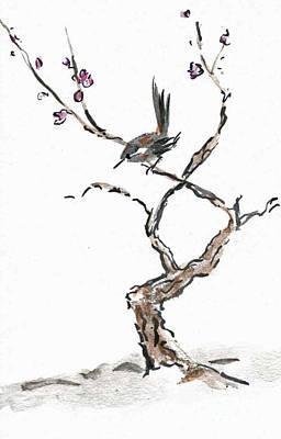 Plum Blossoms Art Print by Ellen Miffitt