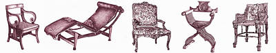 Wall Hanging Drawing - Plum Chair Poster Horizontal  by Adendorff Design
