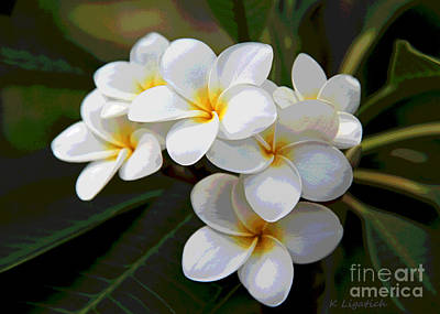 Digital Art - Plumeria - Golden Hearts - Digital Artwork by Kerri Ligatich