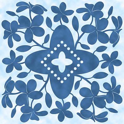 Plumeria Hawaiian Quilt Block Art Print