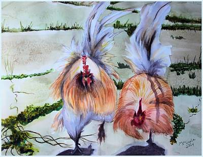 Plump Chickens Art Print by Myrna Migala