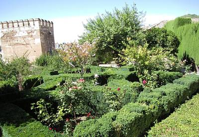 Photograph - Plush Garden Surrounding Ancient Structure Granda Spain by John Shiron