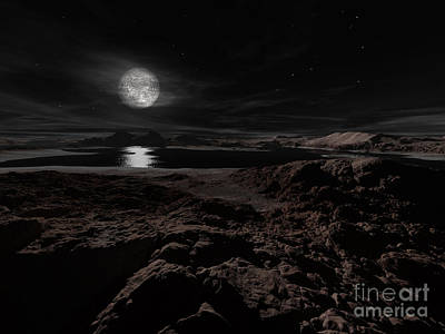 Mellow Yellow - Plutos Moon, Charon, Hovers by Ron Miller