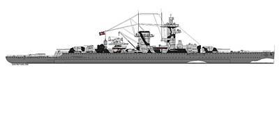 Admiral Digital Art - Pocket Battleship Graf Spee by James  Martindale