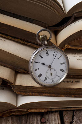 Time Stack Photograph - Pocket Watch On Pile Of Books by Garry Gay