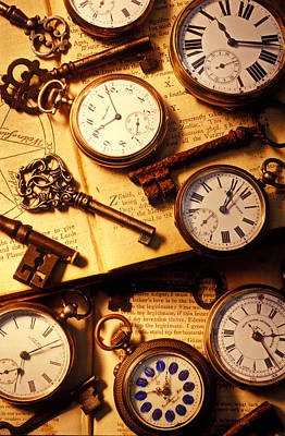 Pocket Watches And Old Keys Print by Garry Gay