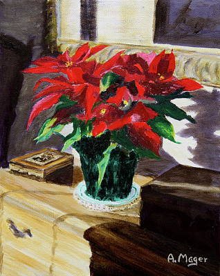 Painting - Poinsettia by Alan Mager