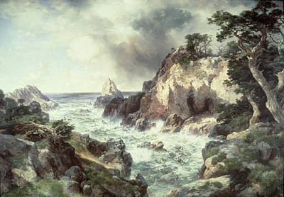 Crashing Wave Painting - Point Lobos At Monterey In California by Thomas Moran