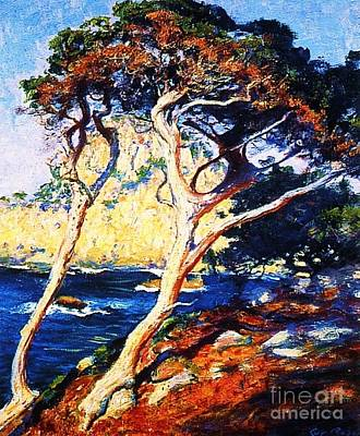 Point Lobos Painting - Point Lobos Trees by Pg Reproductions