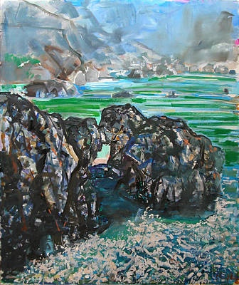 Painting - Point Lobos Window Rock by Zolita Sverdlove