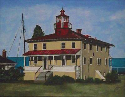 Point Lookout Lighthouse Md Print by Kim Selig