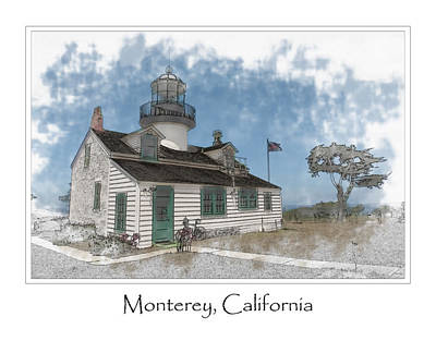 Tourist Attraction Digital Art - Point Pinos Lighthouse Monterey  by Brandon Bourdages