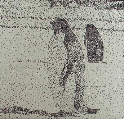 Pointillism Penguins Original
