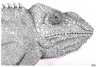 Pointillist Drawing - Pointillist Chameleon  by Ben Leary
