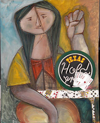 Anticipation Mixed Media - Poker Lady by Miriam Besa