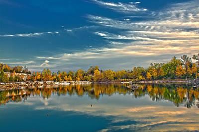 Charles Digital Art - Polarizing Autumn Lake by Bill Tiepelman