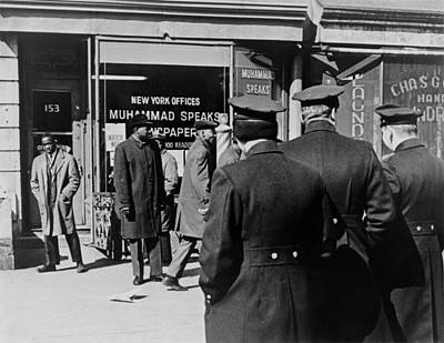 Police Standing Outside A Black Muslims Print by Everett